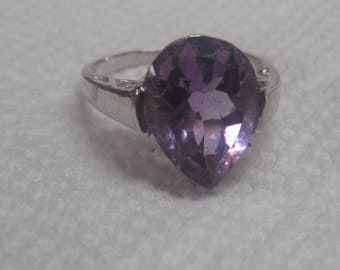Purple Stone 925 Marked Sterling Silver Ring