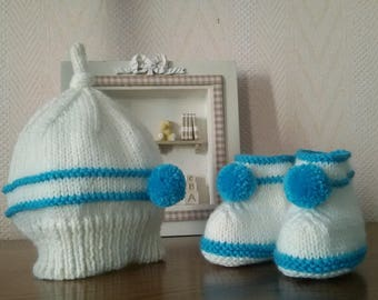 Pixie hat, knitted slippers handmade size 0/1 month teal and ecru