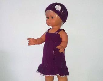 Clothes for dolls 50cms, dress, hat, wool ballerinas