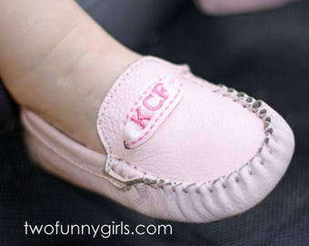 CLOSE OUT : Monogrammed Leather Mocs Kids Size 7-12 {Pink Leather}