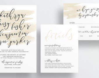 watercolor wash calligraphy wedding invitations // neutral taupe watercolor splash invites // earthy beach wedding // printable // custom