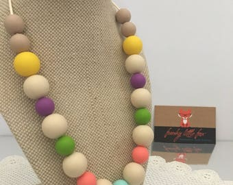 Multi Coloured Silicone and Maple wood Necklace