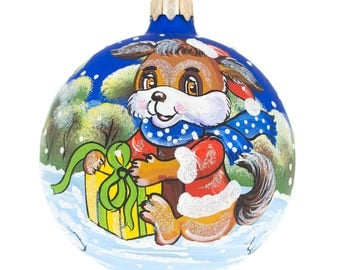 "4"" Baby Fox Opening Gifts Glass Ball Christmas Ornament"