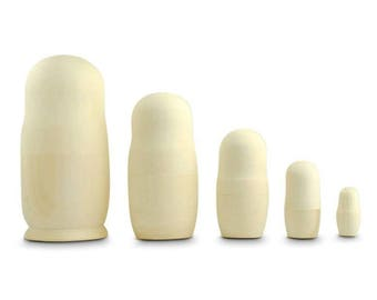 "7"" Set of 5 Unpainted Blank Wooden Russian Nesting Dolls"