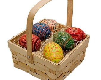 Set of 6 Ukrainian Hand Painted Wooden Easter Eggs in a Gift Basket