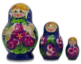 "3.5"" Set of 3 Floral on Blue Dress Russian Matryoshka Dolls"