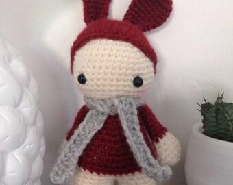 "Little Pixie Doll ""lutinou"" red rabbit"