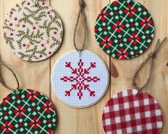 Snowflake Ornament, Christmas Ornament, Holiday Ornament, Cross Stitch Art, Wooden Ornament, Flannel Ornament