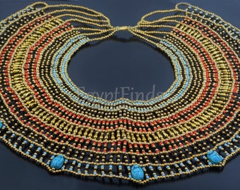 Huge Ancient Egyptian Beaded Cleopatra 9 Scarabs Necklace Collar