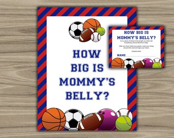 Sports - Baby Shower - How Big Is Mommy's Belly - Game - Sign - Cards - Printable - Instant Download - Sports Theme Baby Shower - 062