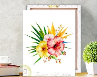 Tropical Botanical Wall Art- Modern Home Decor- Tropical hibiscus Illustration- Tropical Wall Art- Exotic Hibiscus Plant Wall Art Hawaii Art