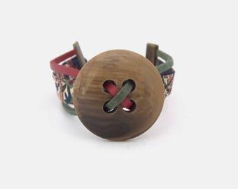 Brown button cuff