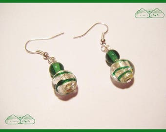 ♥ ♥ Green round beads earrings