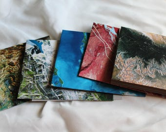 handmade cards - handmade stationery - map note cards - note card set - thank you cards  - map envelopes - unique cards