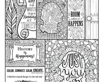 Coloring pages etsy for Hamilton coloring pages