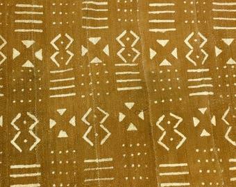 Mud Cloth, Mudtard-Ochre Color, Mud Cloth Throw, Mud Cloth rug, Pre-washed/Pre-shrunk, Tribal Print, Home Decor
