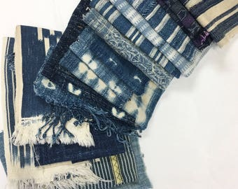 Mud Cloth indigo scraps, Quilters scraps, Hand-Made remnants, Pillow cover patchwork scraps, patchwork fabric