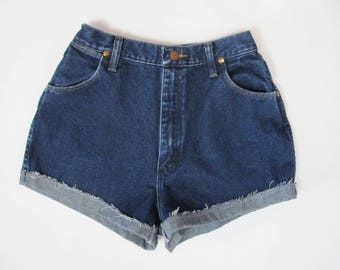 Reworked Vintage Distressed Wrangler Denim Cut Off Shorts
