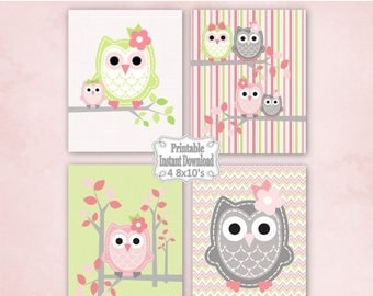 SALE Printable Owls Baby Nursery Wall Art Decor in Pink Green Grey Owls  Baby Child Kids ~ DIY Instant Download ~ 4 8x10 Prints