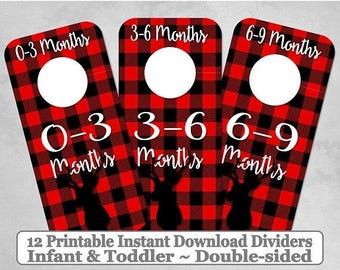 SALE Printable 12 Baby Toddler Double-Sided Closet Dividers Buffalo Plaid Deer Sizes NB-6 - DIY Instant Download - Baby Shower Gift Nursery