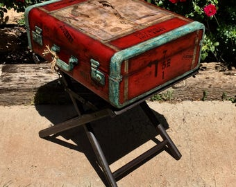 SOLD~Accepting Custom Oders~ Vintage Suitcase Table Industrial Nightstand Industrial End Table Steampunk Nightstand Bedside Table Furniture
