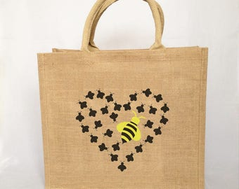 Queen Bee Love large Jute Shopping tote bag, gift for her, beekeeper gift, bee lover gift, market bag, fun tote bag, unique gift, bee lover