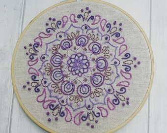 Mandala wall art, hand embroidered, embroidery hoop, pretty purple gift, gift for her, housewarming gift, stocking filler, ooak, any colour