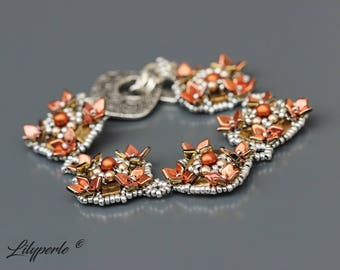 Orange and silver beaded Swarovski Elements Pearl 5810 Pearl diamonds and square two hole beads round Toggle clasp Tin