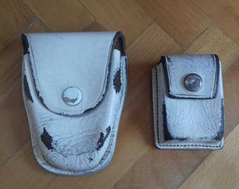 Vintage Handcuffs and Speed Loader leather Police Pouches-70's-Yugoslavia.White Leather Police Holsters-Police accesories