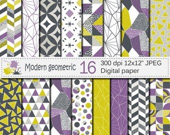 Seamless Modern Geometric Digital Paper, Geometric patterns, Modern backgrounds, Purple Lime Gray Digital Papers, Instant Download