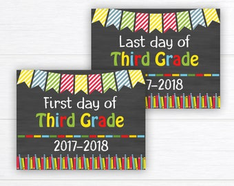Back to School Sign, School Sign Prop, First Day of Third Grade Sign, Chalkboard Sign, First Day of School, 3rd Grade,  Instant Download