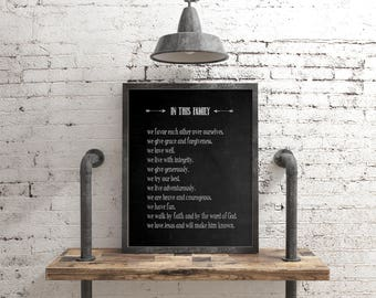 Family Values Poster, Family Creed Print, House Rules, Mission Statement Chalkboard Print