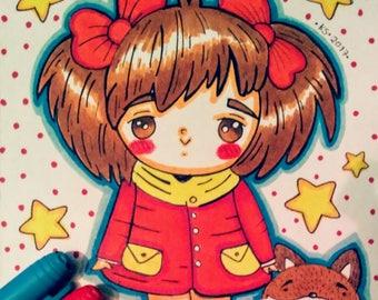 Manga girls, a set of 2 illustrations