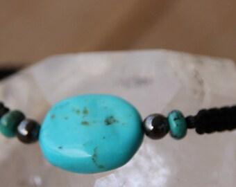 black nylon with turquoise bead Wire Bracelet
