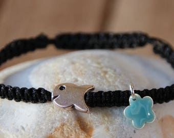 shamballa bracelet with silver fish beads