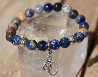 sodalite with calcite on elastic bracelet