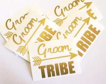 20 Groom Tribe Stickers, Bachelorette Decor, Wedding Party Sticker, Gold Glass Decal, DIY Wedding Party Favor, Groomsmen Tumbler Decal