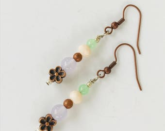 Lavender and Green Quartz Earrings, Wedding Jewelry, Beach Wedding, Copper and Silver Tone Crystal Purple and Green Earrings