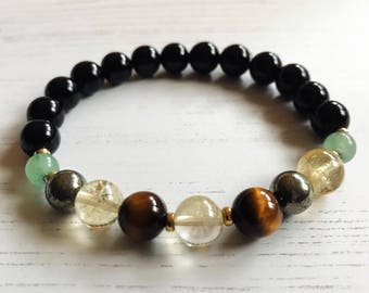Prosperity & Abundance Mala Bracelet with citrine, tigers eye and 22k gold plated accents, wrist mala, yoga bracelet, healing stones,