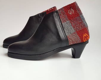Exclusive Bootie Black Leather with red and blue kilim  5.5 7.5 US, UK 3.5 5.5  EU 36 38/ Unique Ankle Bootie / Boho style bootie