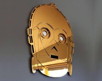 Star Wars, C3PO face, Droid Reflective Wall Art