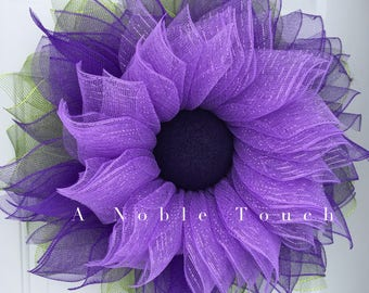 Purple Deco Mesh Flower Wreath, Spring Wreath, Summer Wreath, Whimsical Wreath, Front Door Wreath, by A Noble Touch