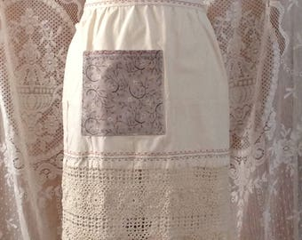 Cotton Half Apron with crochet border