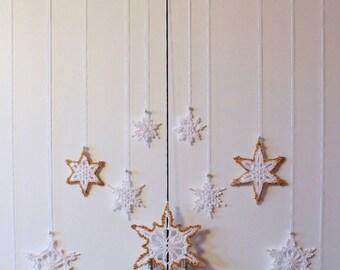 Crochet star, Snowflake Curtain, Window deco, Christmas/Sternenkette Windows Deco, removable snowflakes, crochet