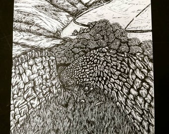 The Road Ahead, An A4 Original Pen and Ink Illustration