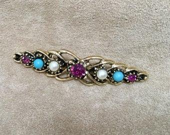 Vintage Crystal Amethyst Brooch
