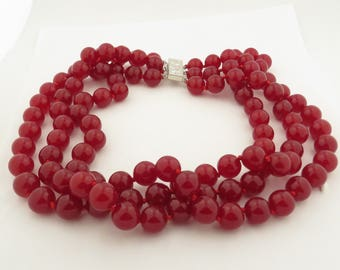 "Vintage Natural Red Ruby Jade (12 mm) 3 Stand 17"", 18"" & 19"" Necklace w/ Silver Clasp."
