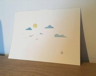 Original watercolor painting sunny sky