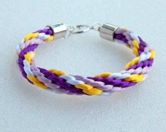 Women teen braided kumihimo purple white yellow purple bracelet