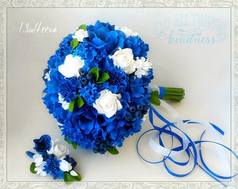 Wedding blue bouquet with cornflowers, blueberries, poppies and white roses, alternative bouquet out of polymer clay keepsake bouquet